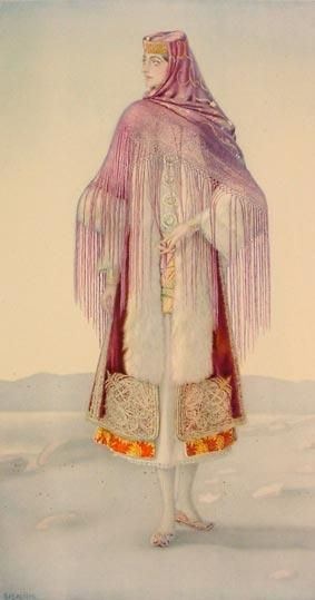Greek Peasant Womans Bridal Dress (Dodecanese, Kastellorizo) - Greek Costume Collection by NICOLAS SPERLING (Russia 1881-1940 / act: Athens).