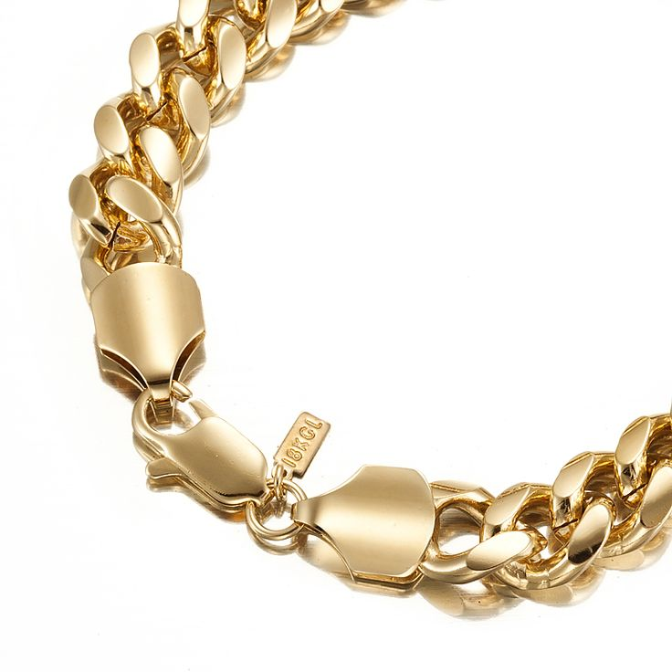 18ct Yellow Gold Layered Chunky Curb Chain Bracelet with Lobster Clasp | Allure Gold