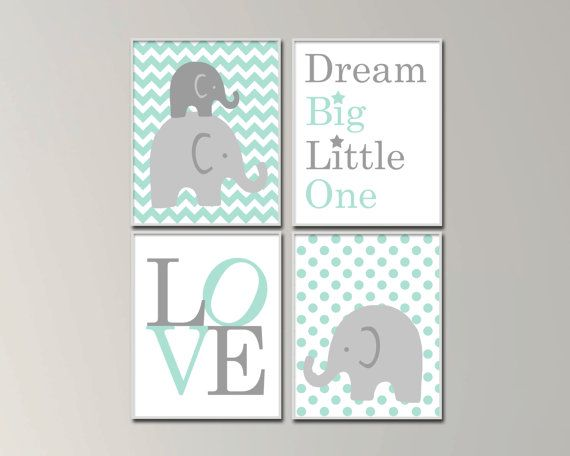 Elephant Nursery Art Prints. Baby Boy Nursery Art Prints.