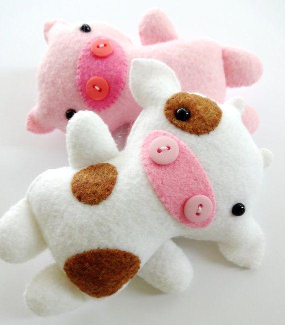 Farm Animal Softies Sewing Pattern - Tutorial - PDF ePATTERN - Cow, Sheep, Goat…