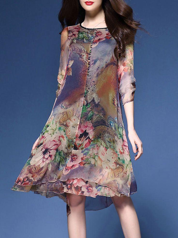Loose Fitting Round Neck Printed Chiffon Shift Dress