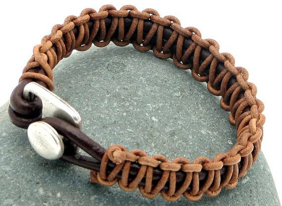 FREE SHIPPING.Unisex leather bracelet.Men or women,macrame knot leather bracelet.Fawn and brown leather cord with silver plated clasp.