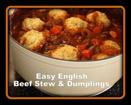 easy english beef stew & dumplings ~ my s-i-l, tracey's recipe for crock pot beef stew ~ straight from England!