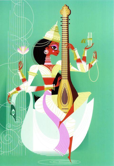 contemporary art of Saraswati, the Hindu goddess of knowledge, music, art, wisdom, and nature.