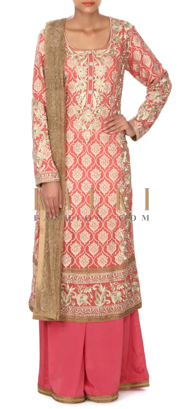 Buy this Peach straight suit in zari and resham embroidery only on Kalki