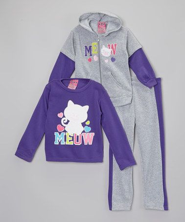 Loving this Gray & Purple 'Meow' Hoodie Set - Infant, Toddler & Girls on #zulily! #zulilyfinds