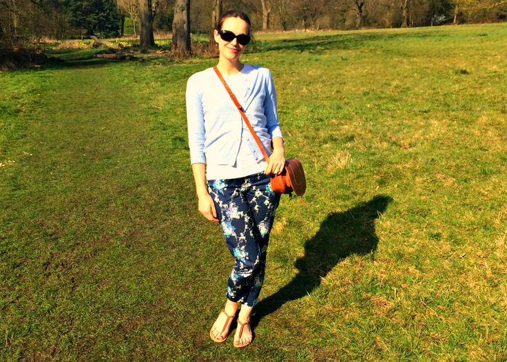 Floral Oasis Trousers with Powder Blue Dorothy Perkins Cardigan