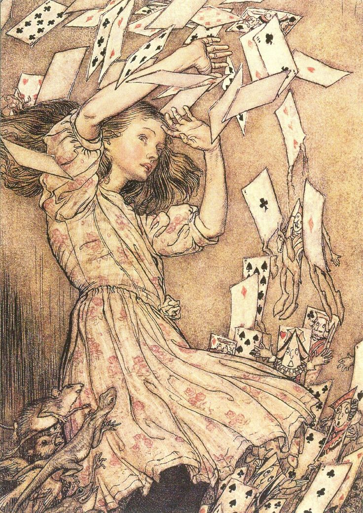 'You're nothing but a pack of cards!' by Arthur Rackham from 'Alice's Adventures in Wonderland' (Lewis Carroll)