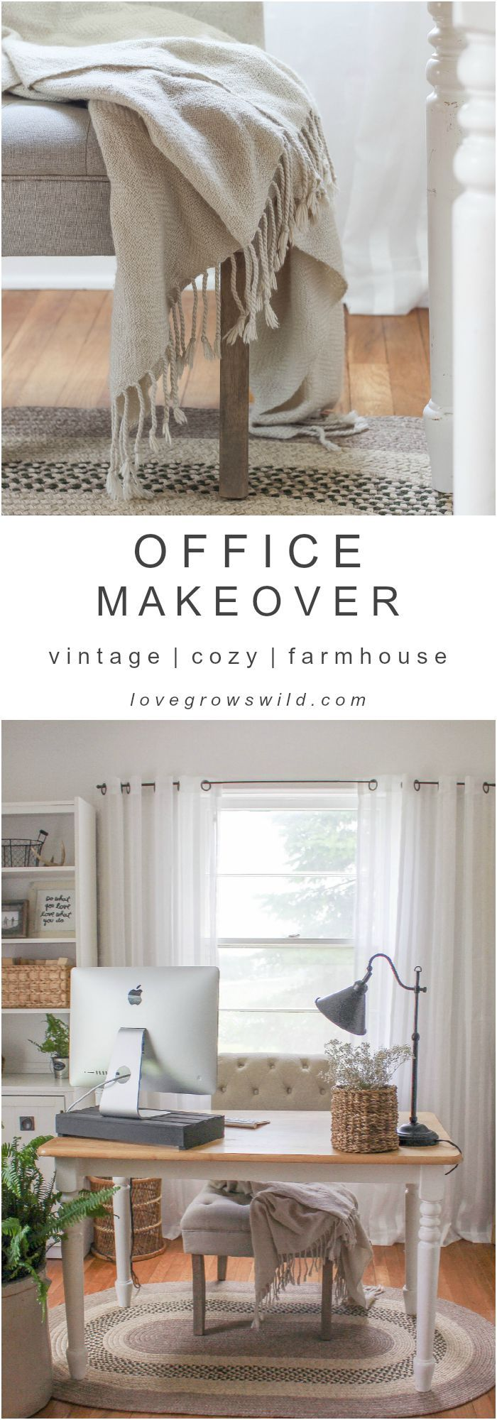A must-see makeover! Check out the transformation of this gorgeous home office decorated with vintage finds and tons of farmhouse charm at LoveGrowsWild.com
