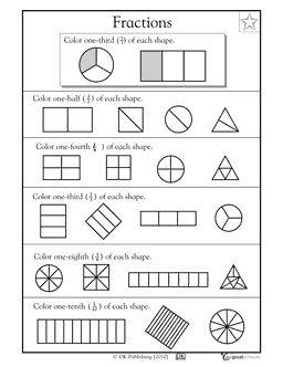 Printables First Grade Fractions Worksheets fractions worksheets and on pinterest