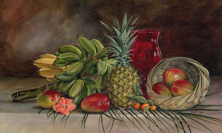 """Tropical Fruit"" A stalk of bananas was the feature of this still life. The basket is hand made from a palm frond. fineartbymonti.com"