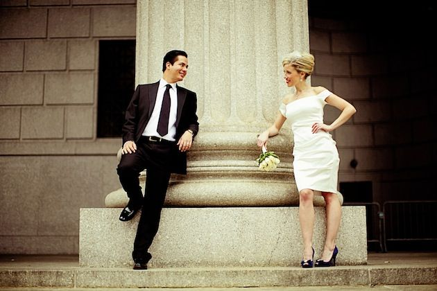 Melissa and Raul outside City Hall for their elegant ...