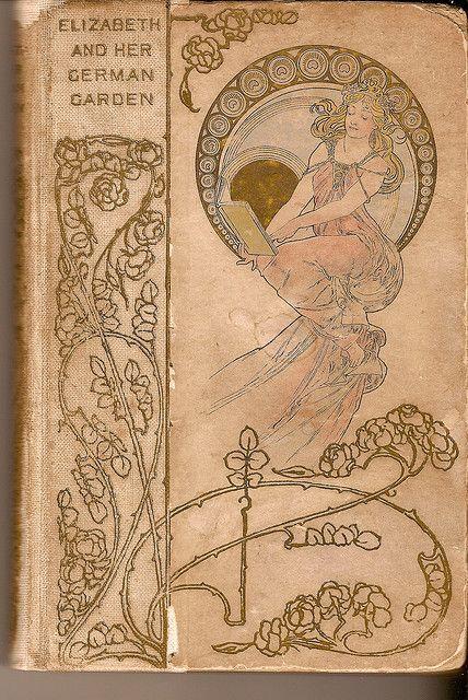 """Book cover from """"Elizabeth in her German Garden"""" by Elizabeth von Arnim, first published in 1898"""
