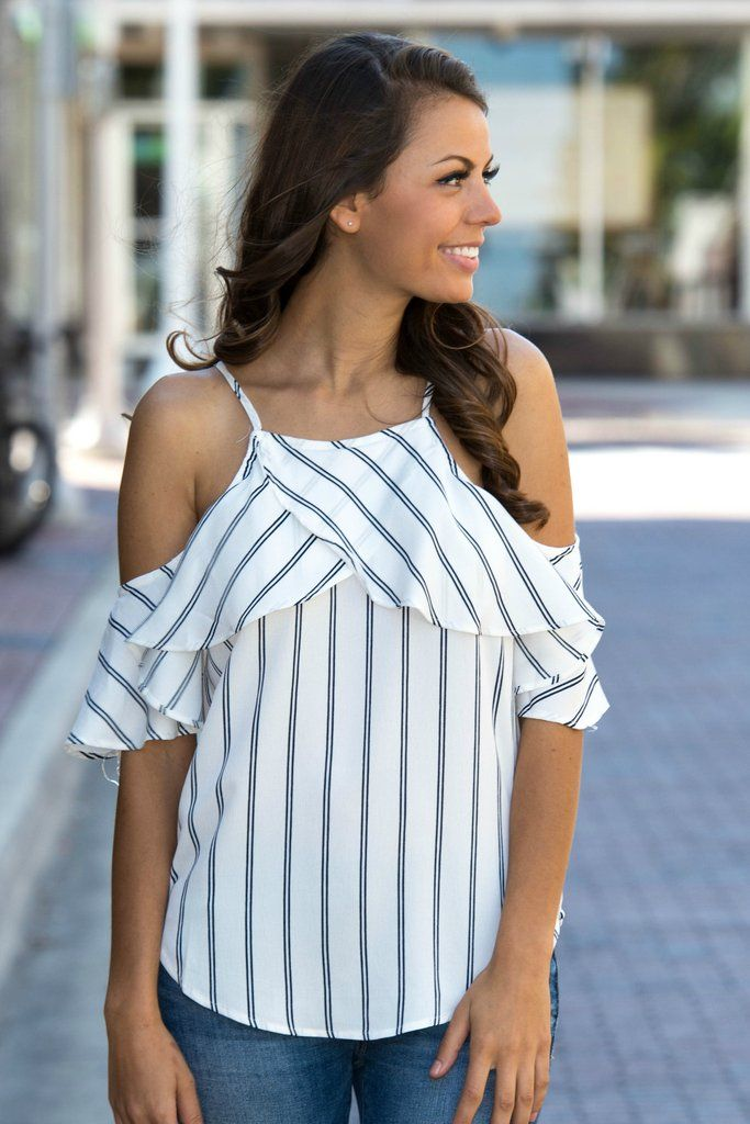 Anchors Away White Striped Cold Shoulder Top Shop Simply Me Boutique – Simply Me Boutique