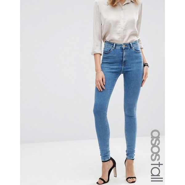 ASOS TALL Ridley Skinny Jean in Jojo Wash featuring polyvore women's fashion clothing jeans blue high-waisted jeans tall skinny jeans high waisted jeans high waisted stretch skinny jeans skinny fit jeans