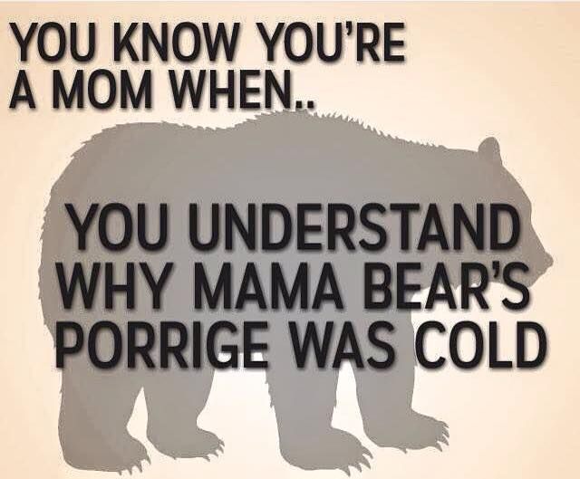You know you're a mom when...you understand why mama bear's porridge was cold