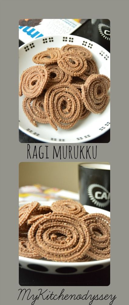 Ragi Murukku - a tasty treat made with ragi flour instead of rice flour.Crunchy no less than rice flour murukku.