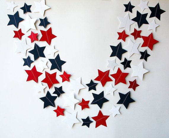 MA Star garland 4th of July garland 4th of by TransparentEsDecor