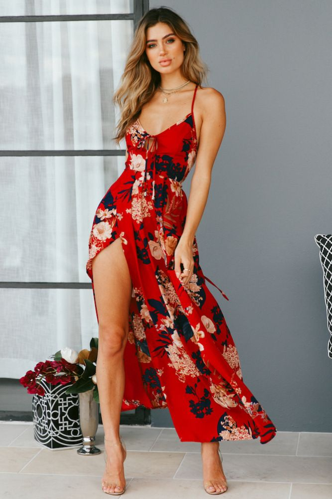 6527b3994c29 Red Floral Print Lace Up V-Neck Maxi Dresses in 2019 | Dresses ...