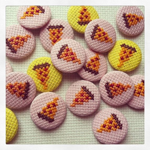 Cross stitch Slice of Pizza Button Badge by MaMagasin on Etsy, £2.00