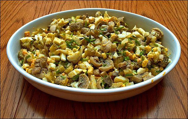 Салат грибной из свежих шампиньонов