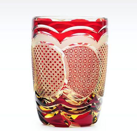 ** Pohár - červené sklo ♣ Edo Kiriko **