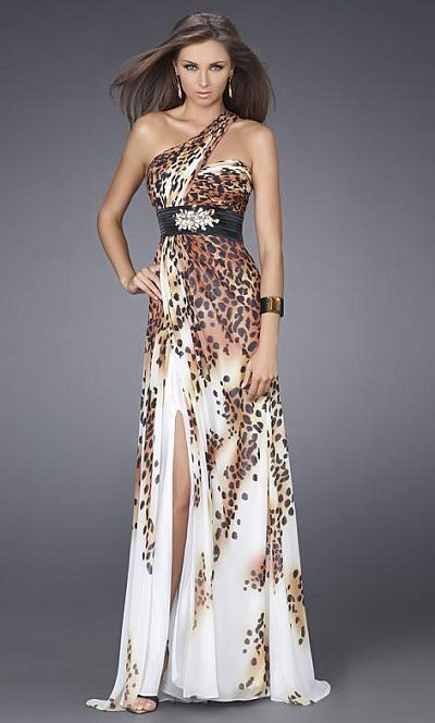 La Femme One Shoulder Animal Print Prom Dress 14999 at frenchnovelty.com