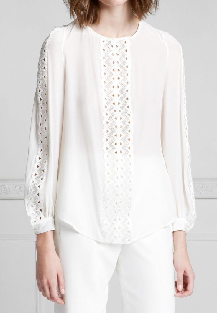 Long Sleeve Chiffon Blouse with Fancy Trim: Paolina | Anne Fontaine