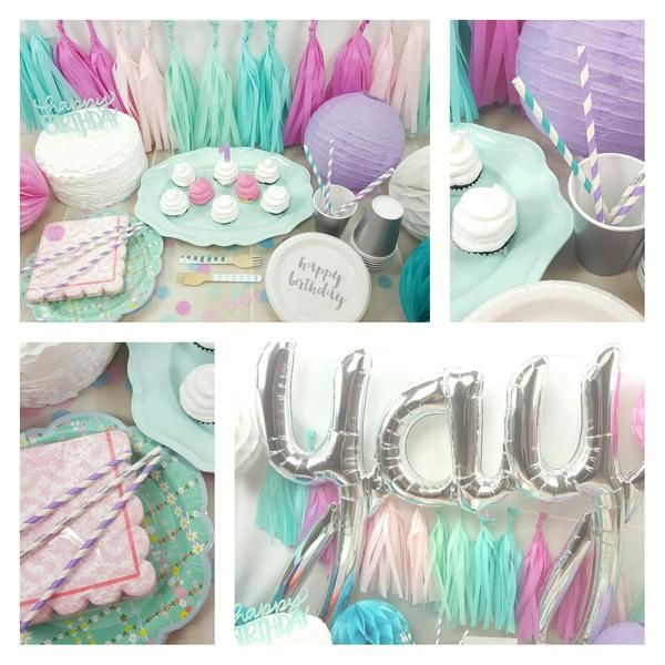 Mermaid Party Decorations. I love the Yay Balloon!   Teal, Turquoise, Mint, Lavender, Pink & Raspberry Mermaid Birthday Party Decorations.