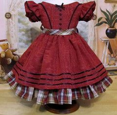 1850's Christmas Gown made to fit Cecile or Marie-Grace   by Keepersdollyduds