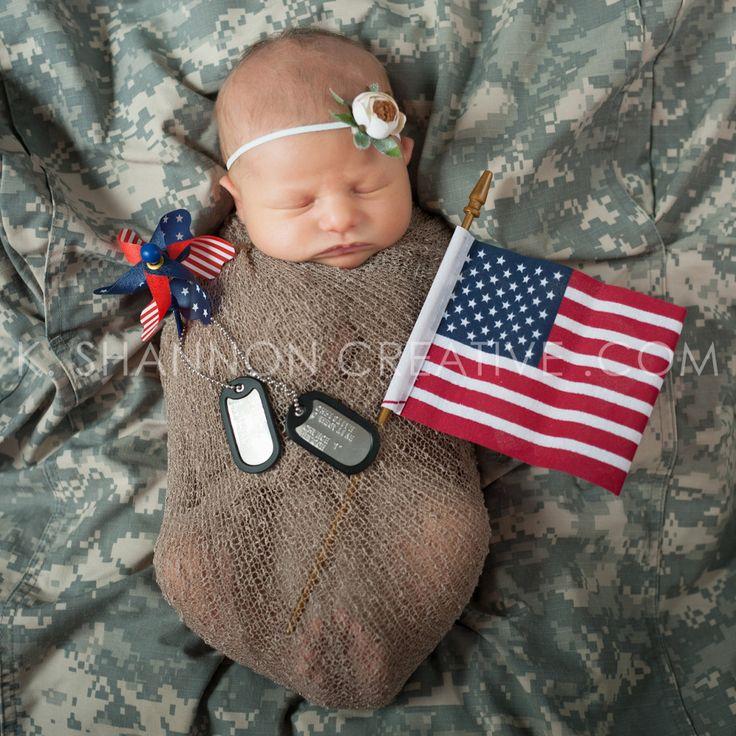Newborn girl portraits in Daddy's Army fatigues! www.kshannoncreative.com