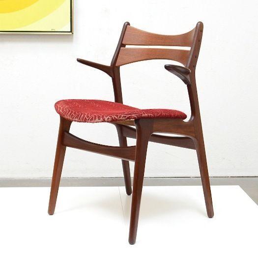60s Danish Modern ERIK BUCH Buck Teak Bowtie Desk ARM Chair Mid Century Vintage #DanishModern