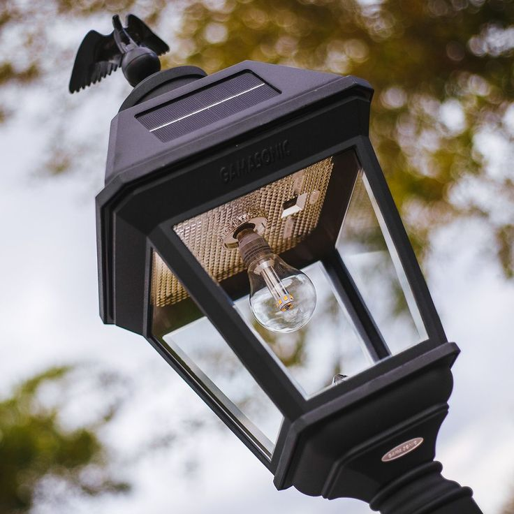 This solar lamp generates enough illumination for your front and back yard. It is perfect for electric or gas-powered lamp post replacement.