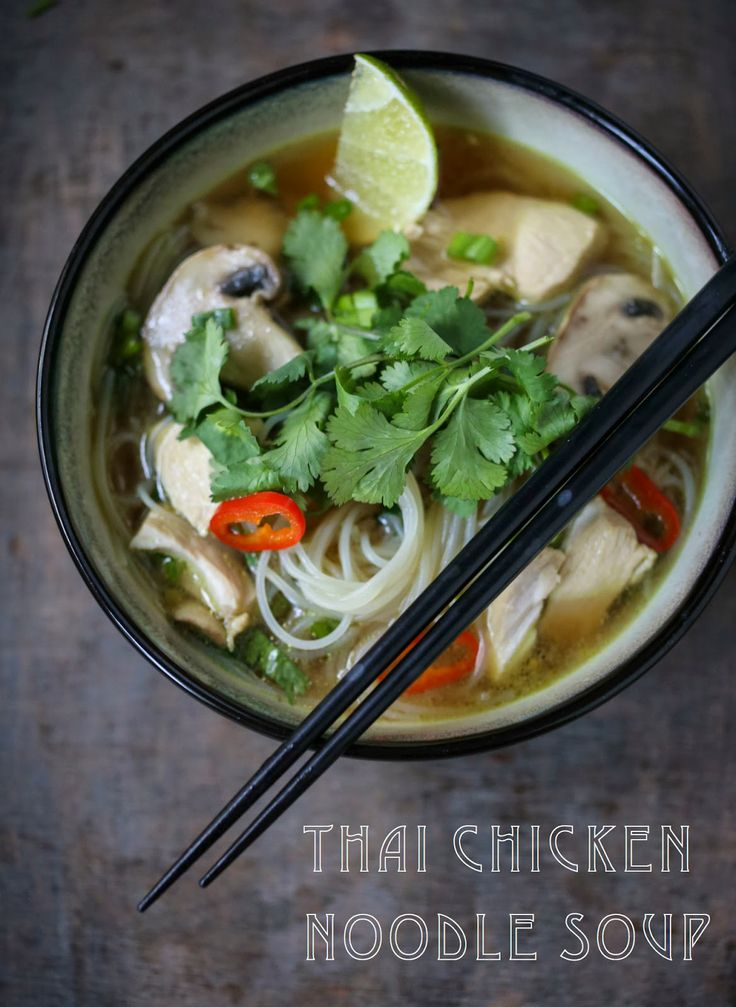 Steaming bowl of Thai Chicken Noodle Soup with a flavorful lemongrass ginger broth. Rice noodles makes this gluten free!!