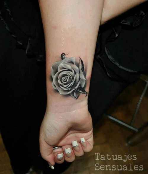Rose tattoo on the wrist. #tattoo #tattoos #ink Love the placement, and love the detail of the flower...but how would it look in purple?