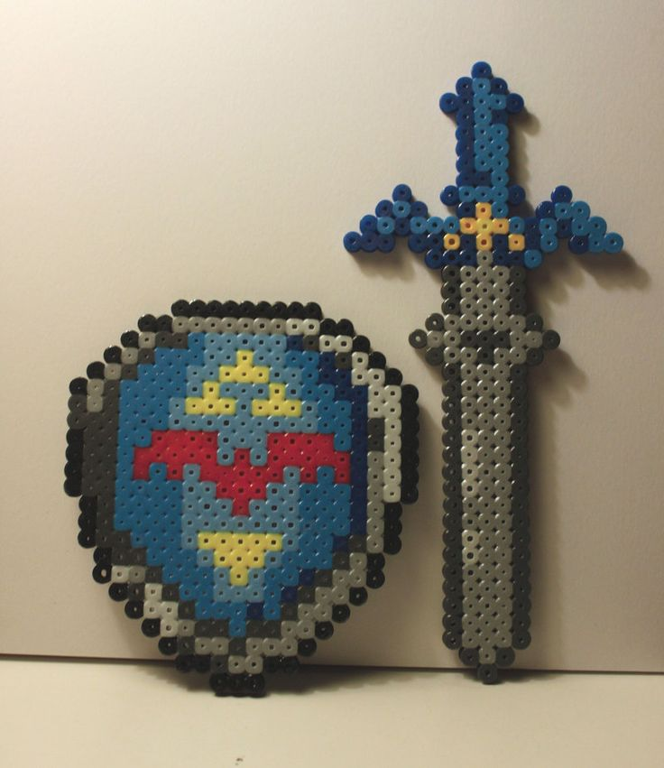 Zelda Master Sword and Shield perler beads by ~SK-Studios on deviantART