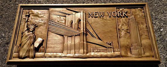 Nueva York hogar de colgante de pared de madera talla
