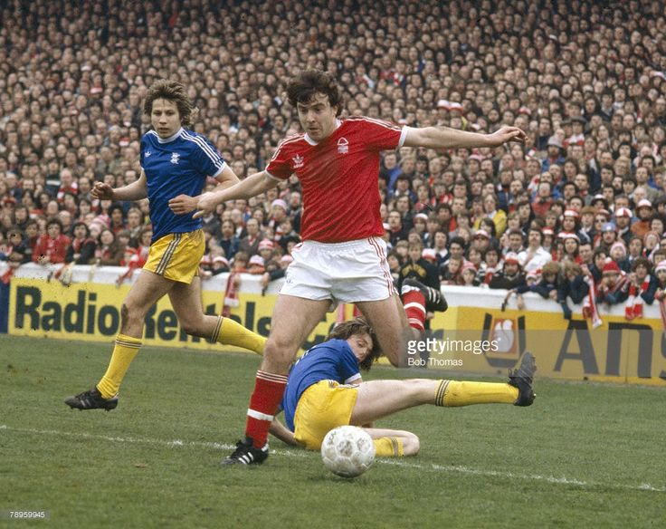 29th April 1978. Nottingham Forest winger John Robertson beats two Birmingham City defenders, at the City Ground.