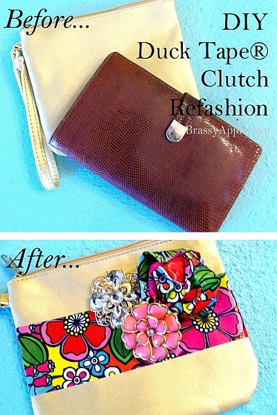 DIY Clutch refashion with #Ducktape - brassyapple.com