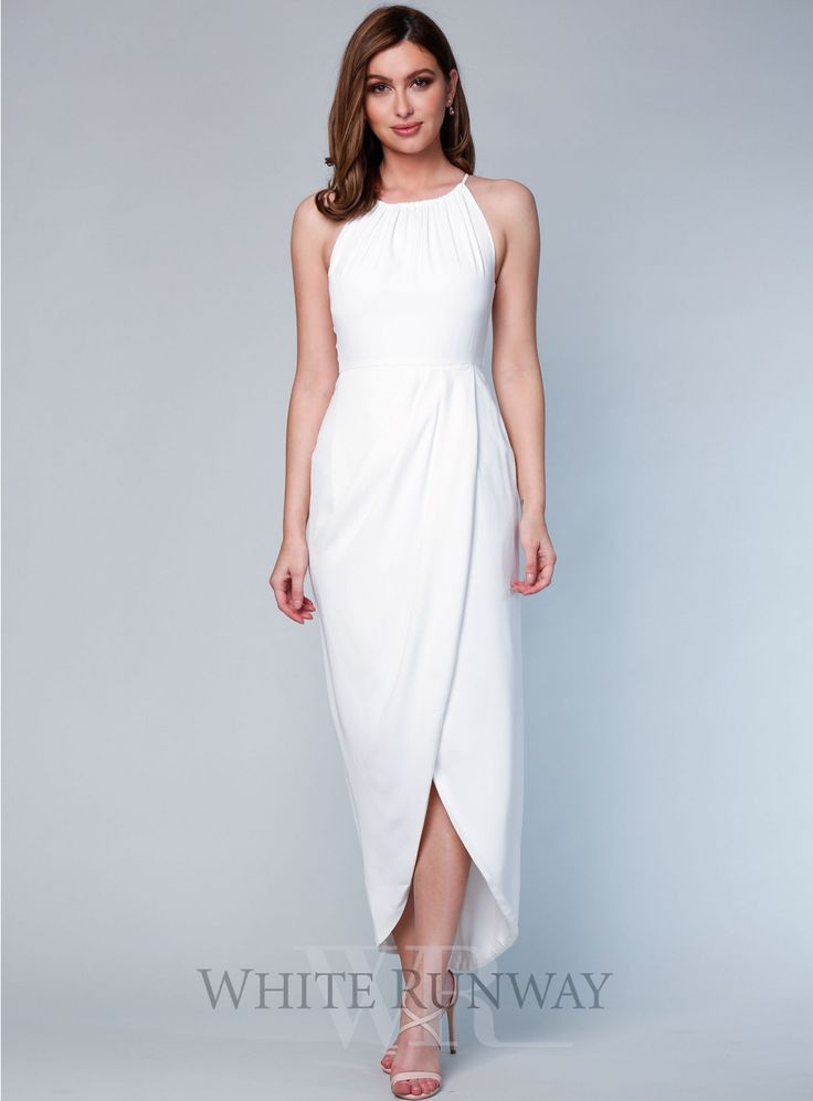 Core High Neck Ruched Dress. A stunning maxi dress by Shona Joy. A high neck style featuring a cross over draped skirt with front split. #bridesmaid #engagement #whiterunway