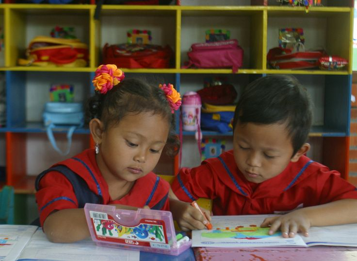 Kindergarten students coloring their picture in the classroom
