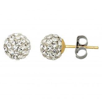 10KT 6.8MM Ball Crystal Earrings