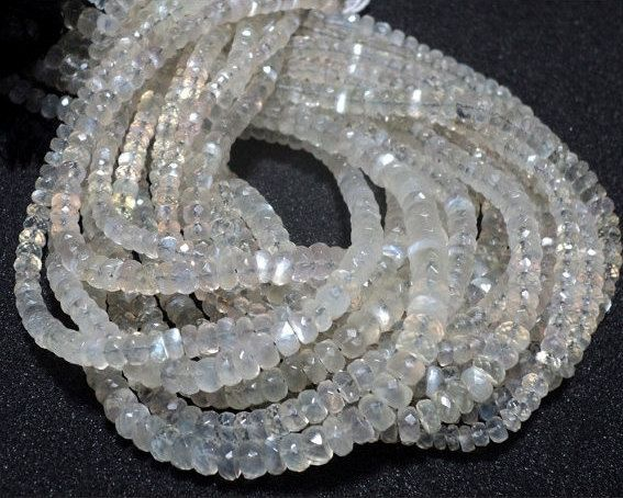African Moonstone Beads Rondelle Beads Faceted by gemsforjewels
