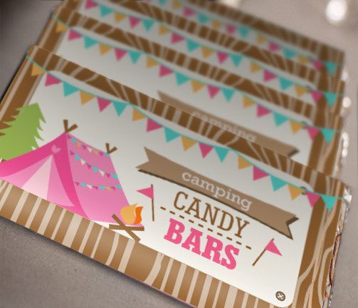 Camping Tent Party Candy Wrappers  Glamping by SunshinePartie....beautiful!