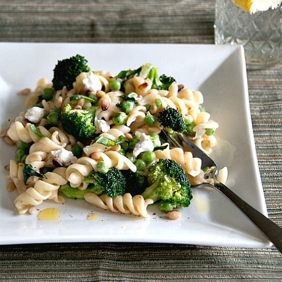 rotini with broccoli, peas, basil and goat cheese - I would add pine ...