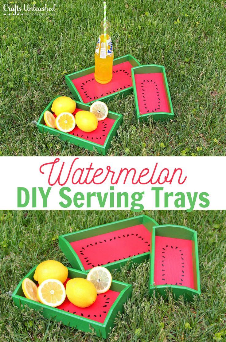 These adorable watermelon DIY serving trays will make a happy little addition to any picnic basket this summer! Learn how to make your own!