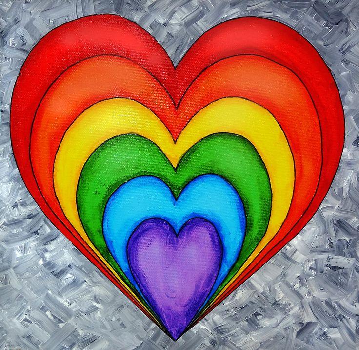 Rainbow Heart On Grey Painting