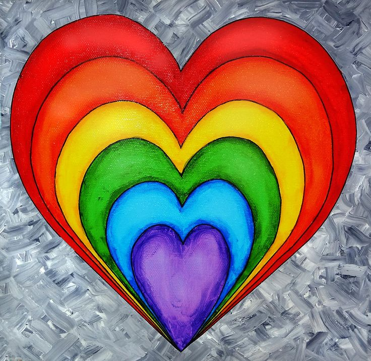 Rainbow Heart On Grey Painting.  Go to www.YourTravelVideos.com or just click on photo for home videos and much more on sites like this.