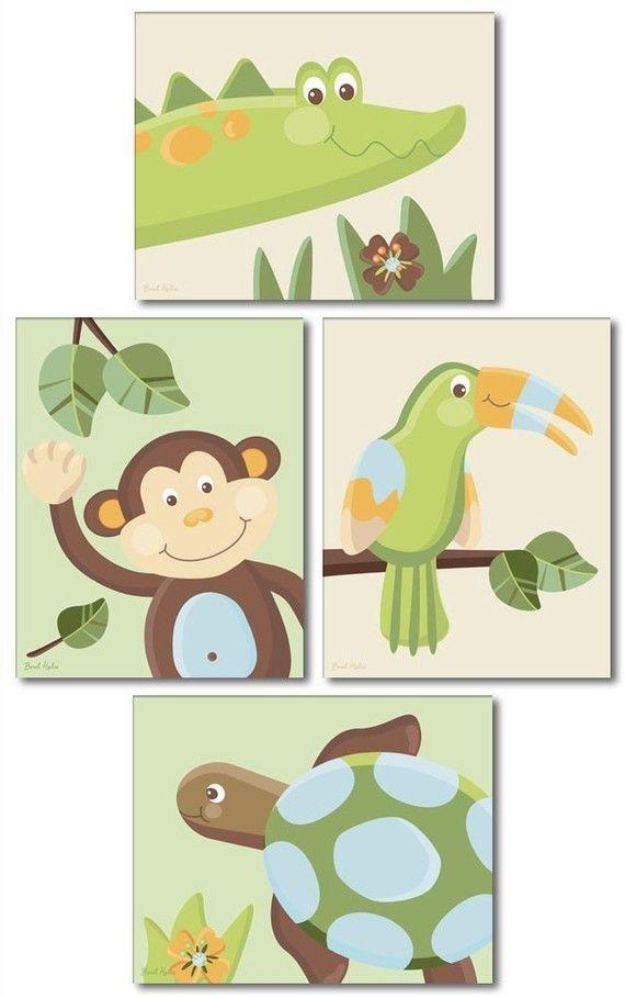 Set of 4 Jungle Papagayo prints / Monkey Toucan by smileywalls