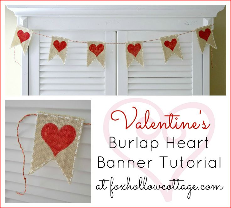 Find simple, inexpensive ways to decorate your home for the holidays. Full tutorial for making a painted heart burlap banner for #Valentine's day.